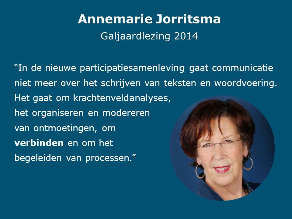 Annemarie Jorritsma Galjaardlezing 2014 In de nieuwe participatiesamenleving gaat communicatie niet meer over het schrijven van teksten en woordvoering.