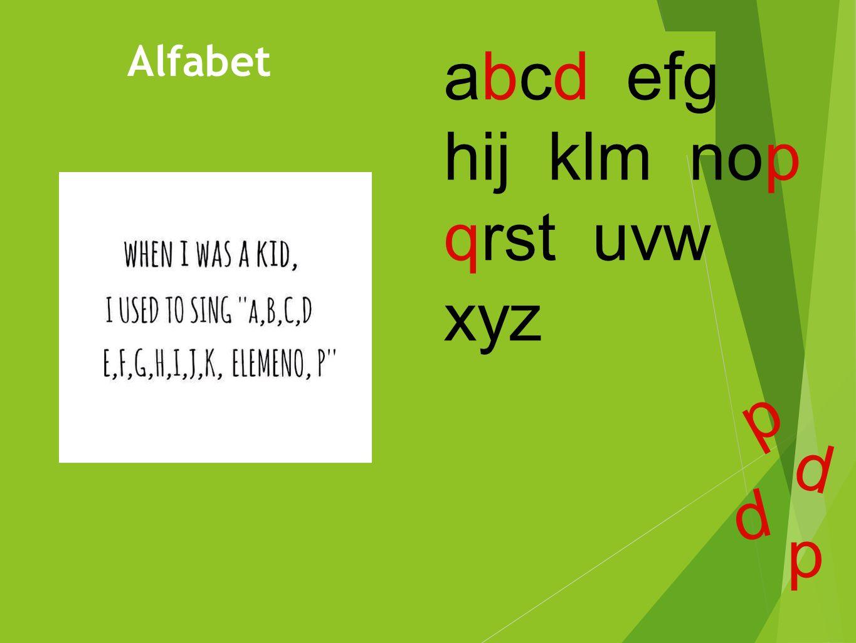 Alfabet abcd efg hij klm nop qrst uvw xyz p p p p