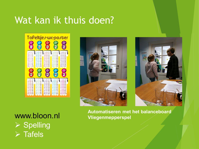 Wat kan ik thuis doen? www.bloon.nl  Spelling  Tafels