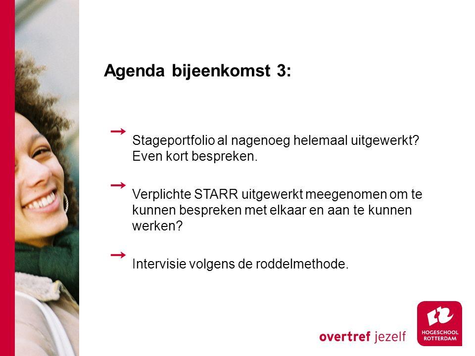 Agenda bijeenkomst 3: Stageportfolio al nagenoeg helemaal uitgewerkt.