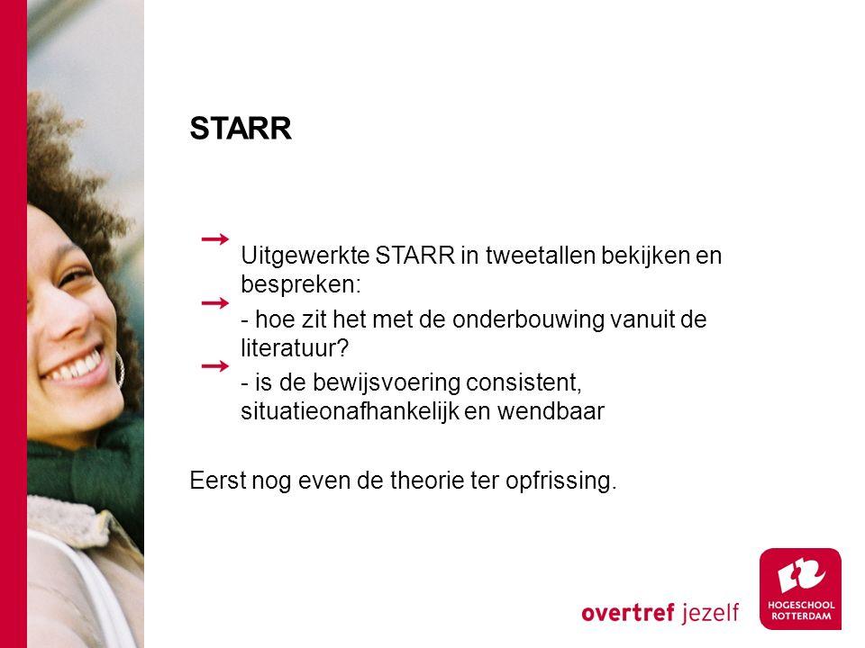 STARR Uitgewerkte STARR in tweetallen bekijken en bespreken: - hoe zit het met de onderbouwing vanuit de literatuur.