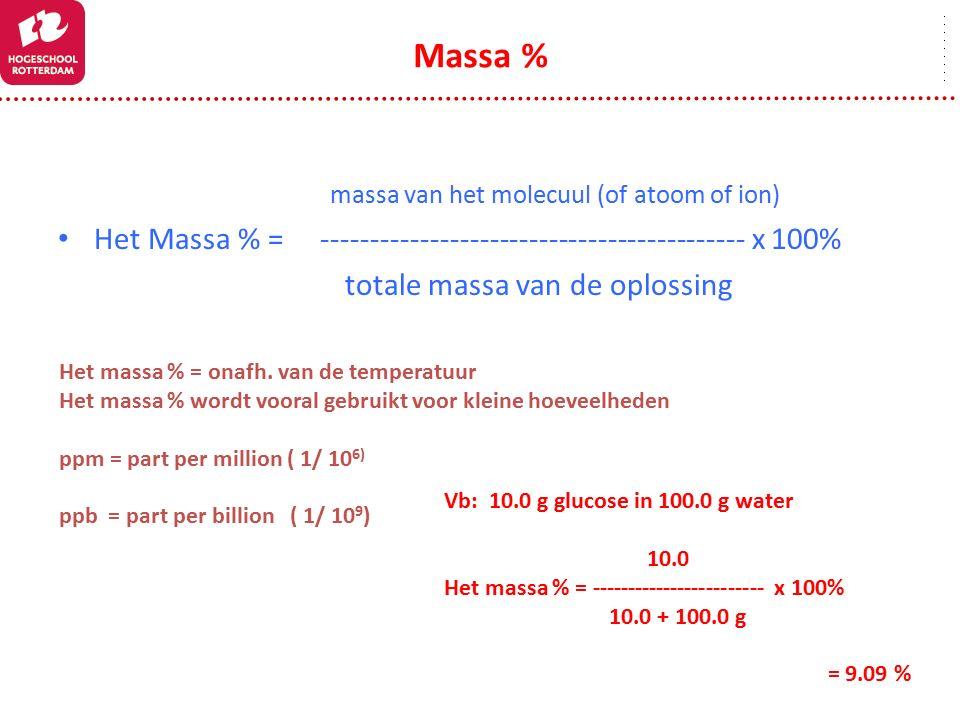 massa van het molecuul (of atoom of ion) Het Massa % = ------------------------------------------- x 100% totale massa van de oplossing Massa % Het ma