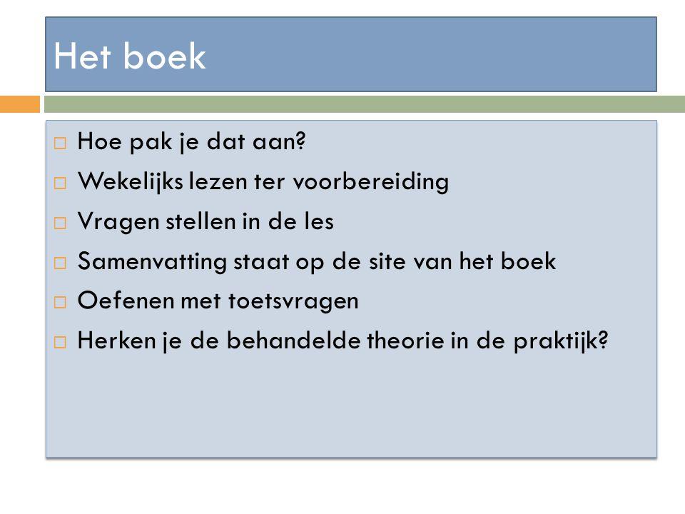 Het boek  Hoe pak je dat aan?  Wekelijks lezen ter voorbereiding  Vragen stellen in de les  Samenvatting staat op de site van het boek  Oefenen m