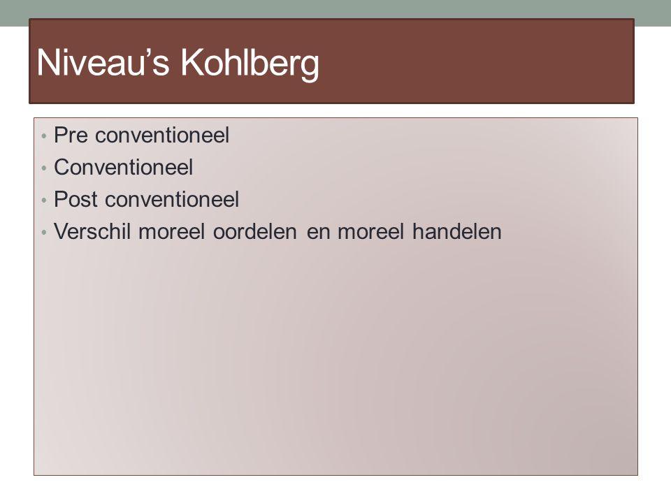 Niveau's Kohlberg Pre conventioneel Conventioneel Post conventioneel Verschil moreel oordelen en moreel handelen
