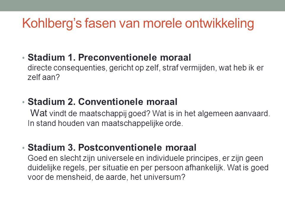 Kohlberg's fasen van morele ontwikkeling Stadium 1.