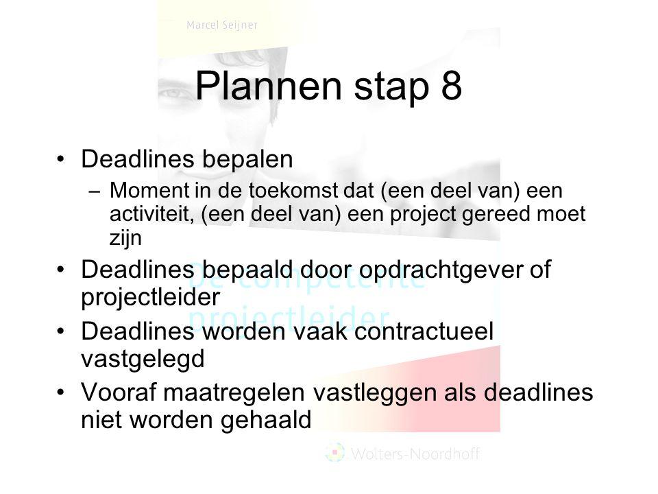 Plannen stap 8 Deadlines bepalen –Moment in de toekomst dat (een deel van) een activiteit, (een deel van) een project gereed moet zijn Deadlines bepaald door opdrachtgever of projectleider Deadlines worden vaak contractueel vastgelegd Vooraf maatregelen vastleggen als deadlines niet worden gehaald