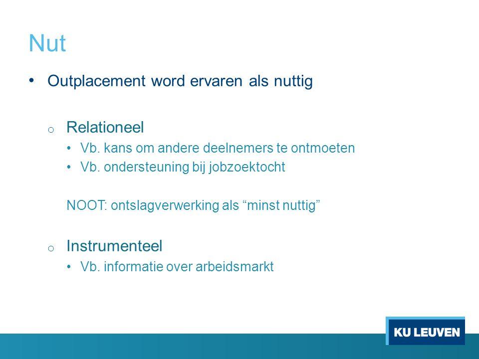 Nut Outplacement word ervaren als nuttig o Relationeel Vb. kans om andere deelnemers te ontmoeten Vb. ondersteuning bij jobzoektocht NOOT: ontslagverw