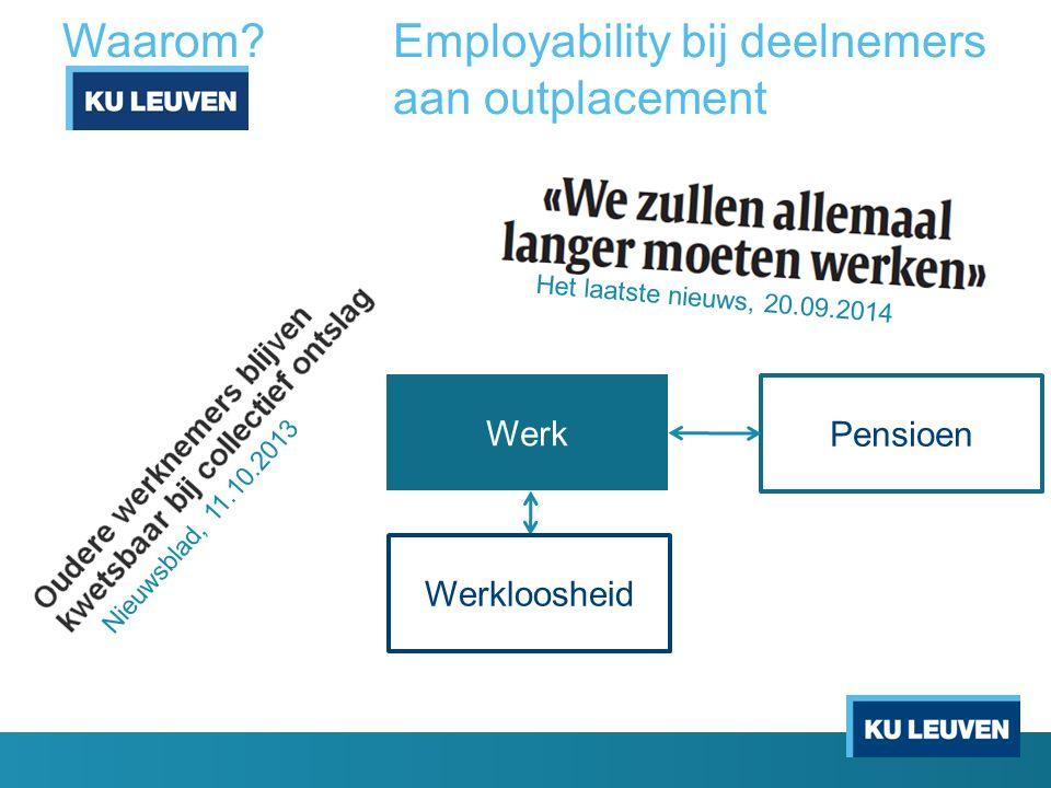 Waarom?Employability bij deelnemers aan outplacement Werkloosheid Werk Pensioen Het laatste nieuws, 20.09.2014 Nieuwsblad, 11.10.2013