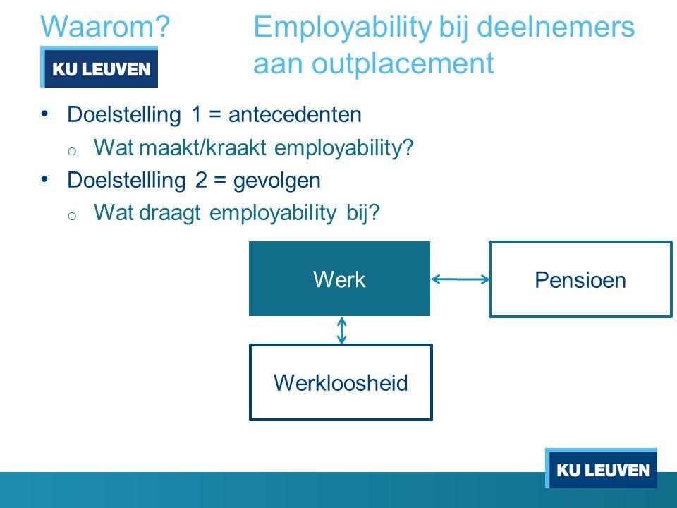 Waarom?Employability bij deelnemers aan outplacement Doelstelling 1 = antecedenten o Wat maakt/kraakt employability? Doelstellling 2 = gevolgen o Wat
