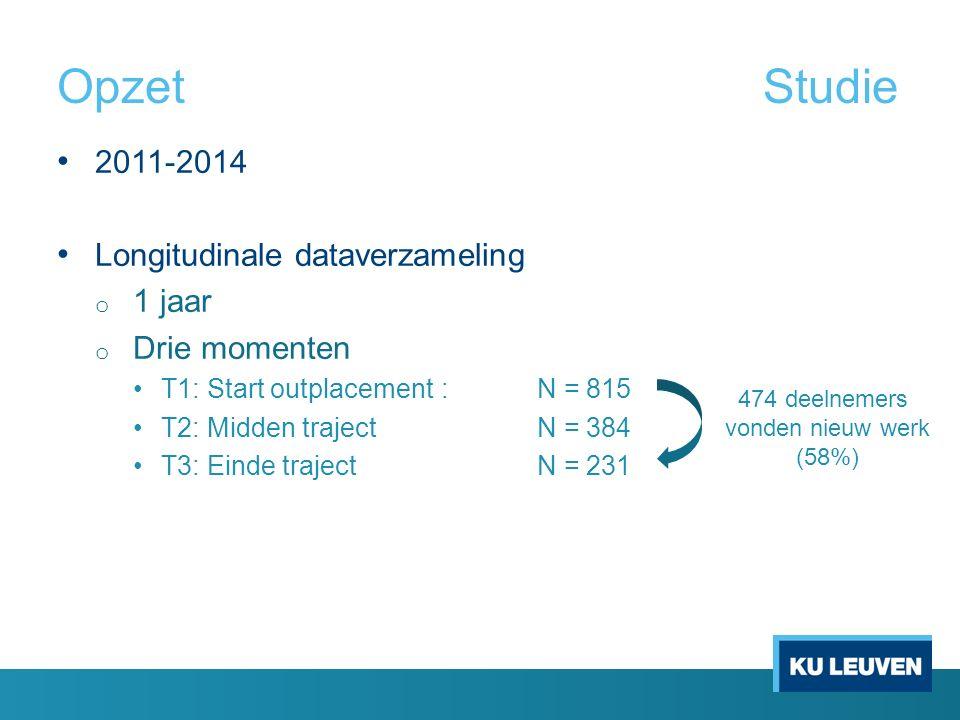 OpzetStudie 2011-2014 Longitudinale dataverzameling o 1 jaar o Drie momenten T1: Start outplacement:N = 815 T2: Midden trajectN = 384 T3: Einde trajec