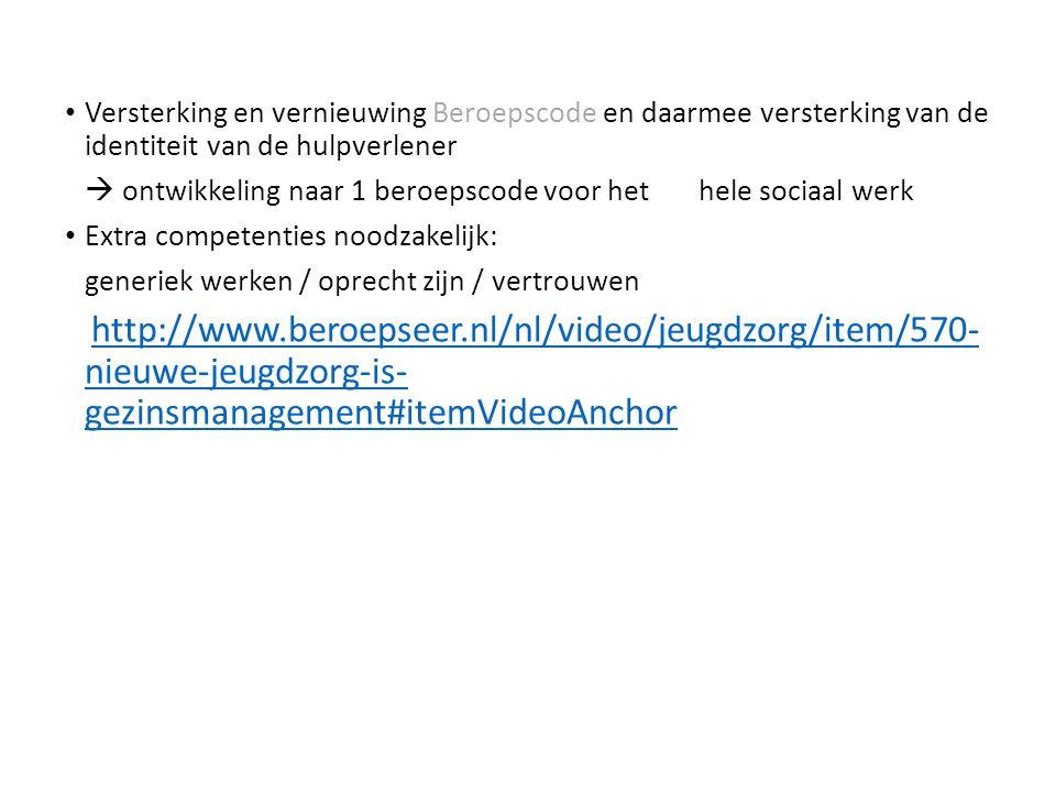 Versterking en vernieuwing Beroepscode en daarmee versterking van de identiteit van de hulpverlener  ontwikkeling naar 1 beroepscode voor het hele sociaal werk Extra competenties noodzakelijk: generiek werken / oprecht zijn / vertrouwen http://www.beroepseer.nl/nl/video/jeugdzorg/item/570- nieuwe-jeugdzorg-is- gezinsmanagement#itemVideoAnchor http://www.beroepseer.nl/nl/video/jeugdzorg/item/570- nieuwe-jeugdzorg-is- gezinsmanagement#itemVideoAnchor