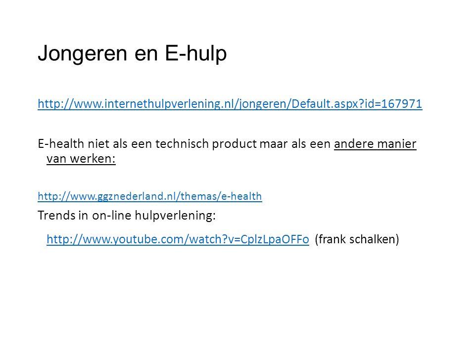 Jongeren en E-hulp http://www.internethulpverlening.nl/jongeren/Default.aspx id=167971 E-health niet als een technisch product maar als een andere manier van werken: http://www.ggznederland.nl/themas/e-health Trends in on-line hulpverlening: http://www.youtube.com/watch v=CplzLpaOFFohttp://www.youtube.com/watch v=CplzLpaOFFo (frank schalken)