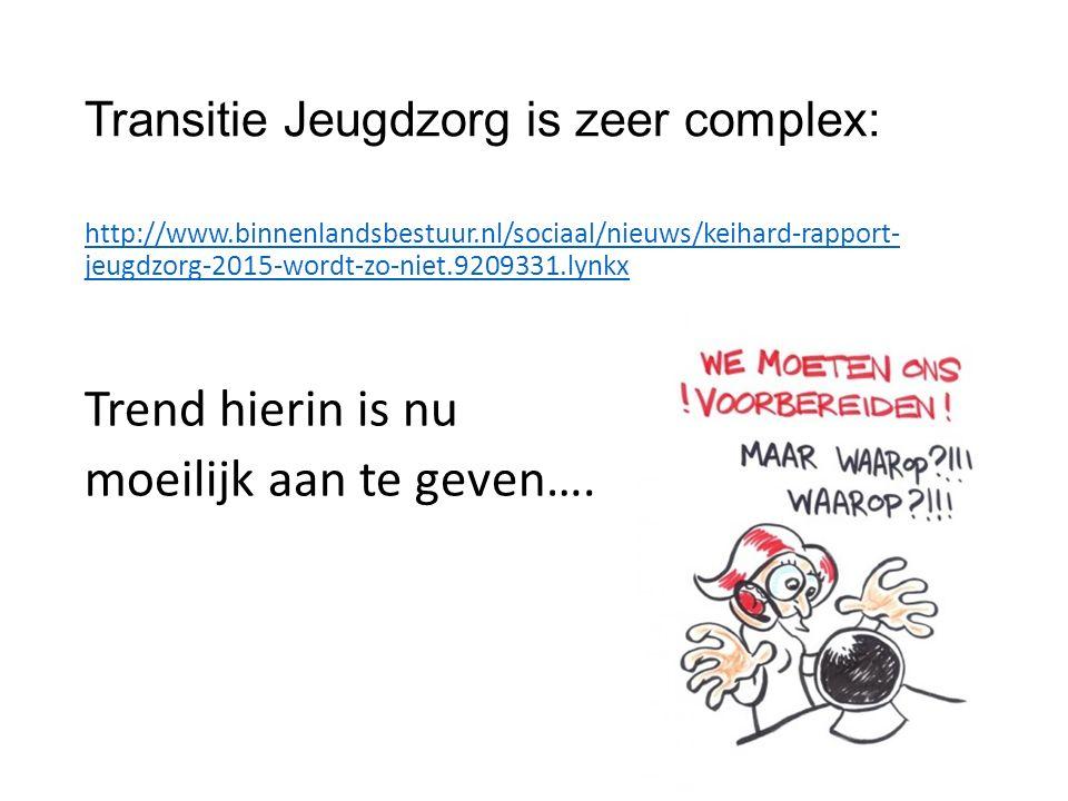 Transitie Jeugdzorg is zeer complex: http://www.binnenlandsbestuur.nl/sociaal/nieuws/keihard-rapport- jeugdzorg-2015-wordt-zo-niet.9209331.lynkx Trend hierin is nu moeilijk aan te geven….