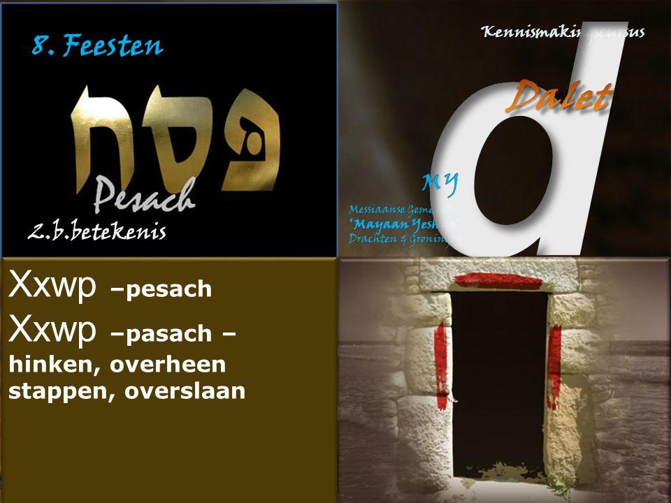 8. Feesten 2.b.betekenis Xxwp –pesach Xxwp –pasach – hinken, overheen stappen, overslaan Xxwp –pesach Xxwp –pasach – hinken, overheen stappen, oversla