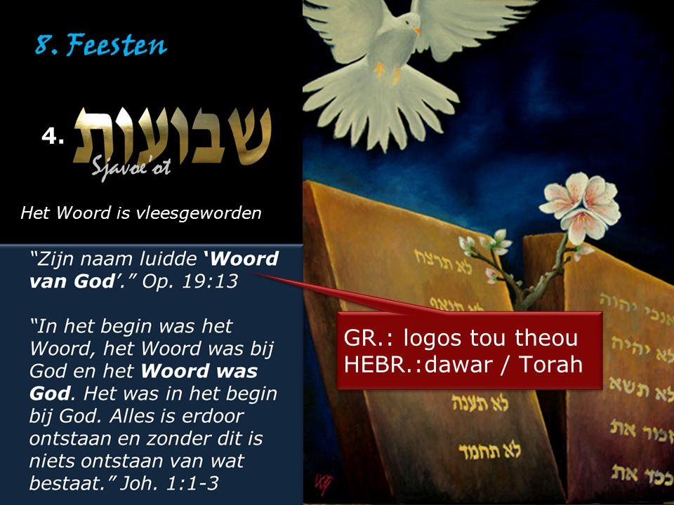 8. Feesten 4. Het Woord is vleesgeworden GR.: logos tou theou HEBR.:dawar / Torah GR.: logos tou theou HEBR.:dawar / Torah