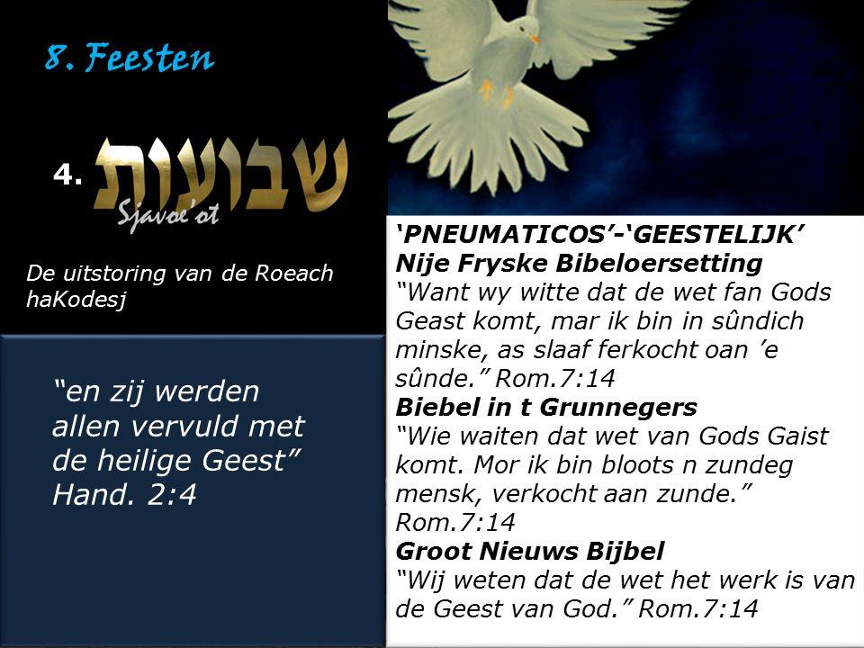 """8. Feesten 4. De uitstoring van de Roeach haKodesj """"en zij werden allen vervuld met de heilige Geest"""" Hand. 2:4 """"en zij werden allen vervuld met de he"""
