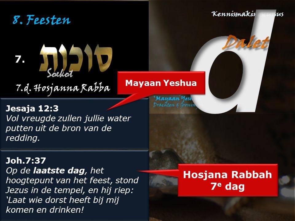 8. Feesten 7. Jesaja 12:3 Vol vreugde zullen jullie water putten uit de bron van de redding. Jesaja 12:3 Vol vreugde zullen jullie water putten uit de
