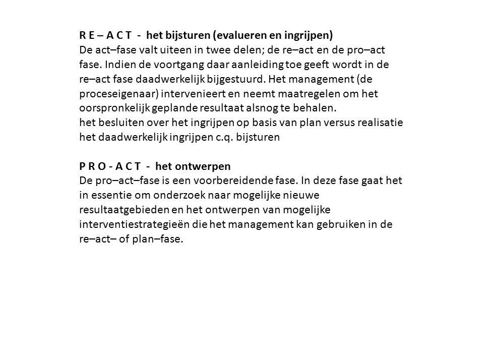 R E – A C T - het bijsturen (evalueren en ingrijpen) De act–fase valt uiteen in twee delen; de re–act en de pro–act fase. Indien de voortgang daar aan