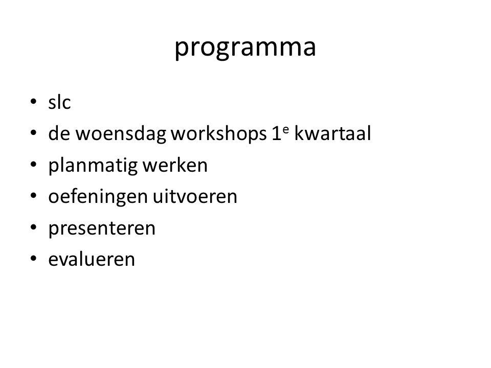 programma slc de woensdag workshops 1 e kwartaal planmatig werken oefeningen uitvoeren presenteren evalueren