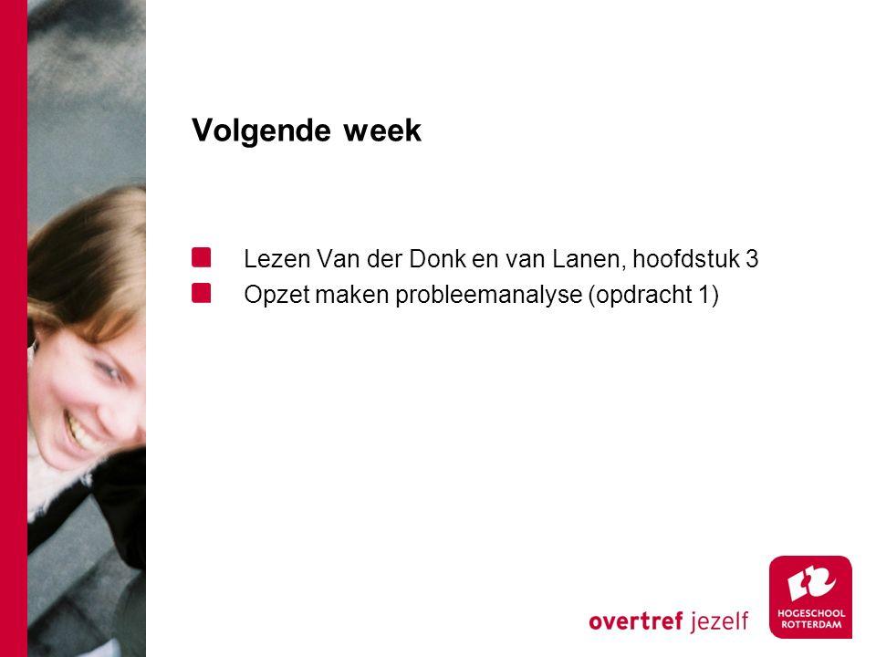 Volgende week Lezen Van der Donk en van Lanen, hoofdstuk 3 Opzet maken probleemanalyse (opdracht 1)