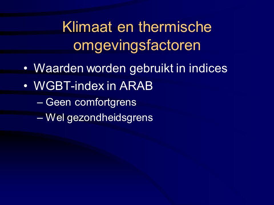 Klimaat en thermische omgevingsfactoren Waarden worden gebruikt in indices WGBT-index in ARAB –Geen comfortgrens –Wel gezondheidsgrens