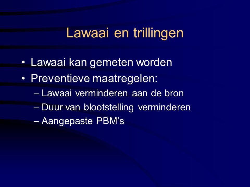 Lawaai en trillingen Lawaai kan gemeten worden Preventieve maatregelen: –Lawaai verminderen aan de bron –Duur van blootstelling verminderen –Aangepaste PBM's