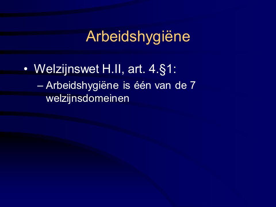 Welzijnswet H.II, art. 4.§1: –Arbeidshygiëne is één van de 7 welzijnsdomeinen