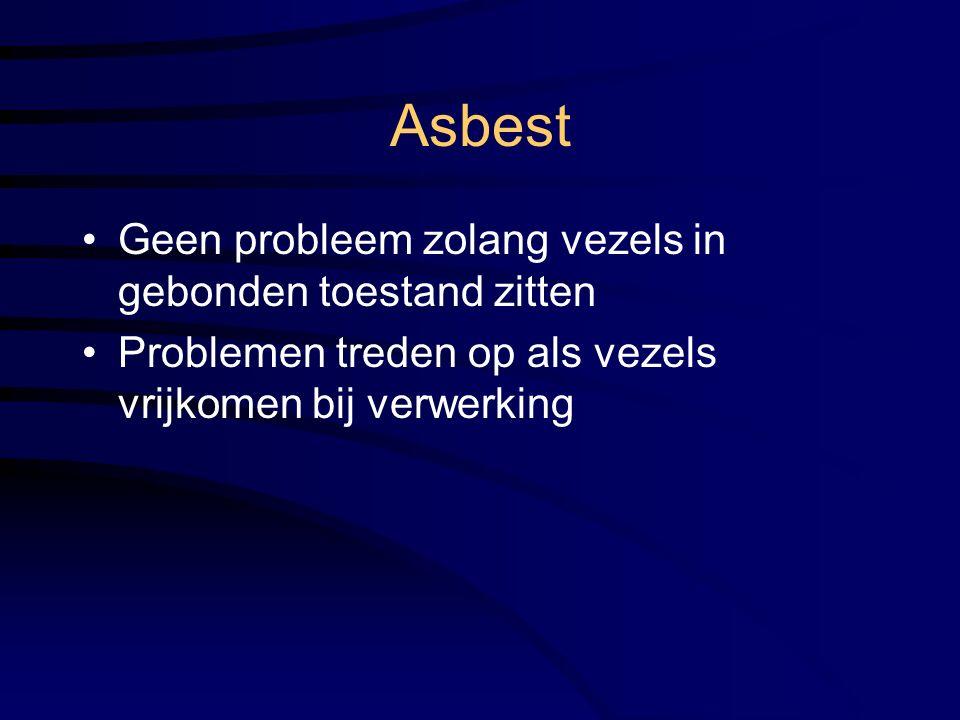 Asbest Geen probleem zolang vezels in gebonden toestand zitten Problemen treden op als vezels vrijkomen bij verwerking