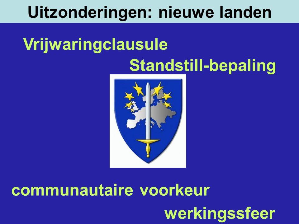 Uitzonderingen: nieuwe landen werkingssfeer communautaire voorkeur Vrijwaringclausule Standstill-bepaling
