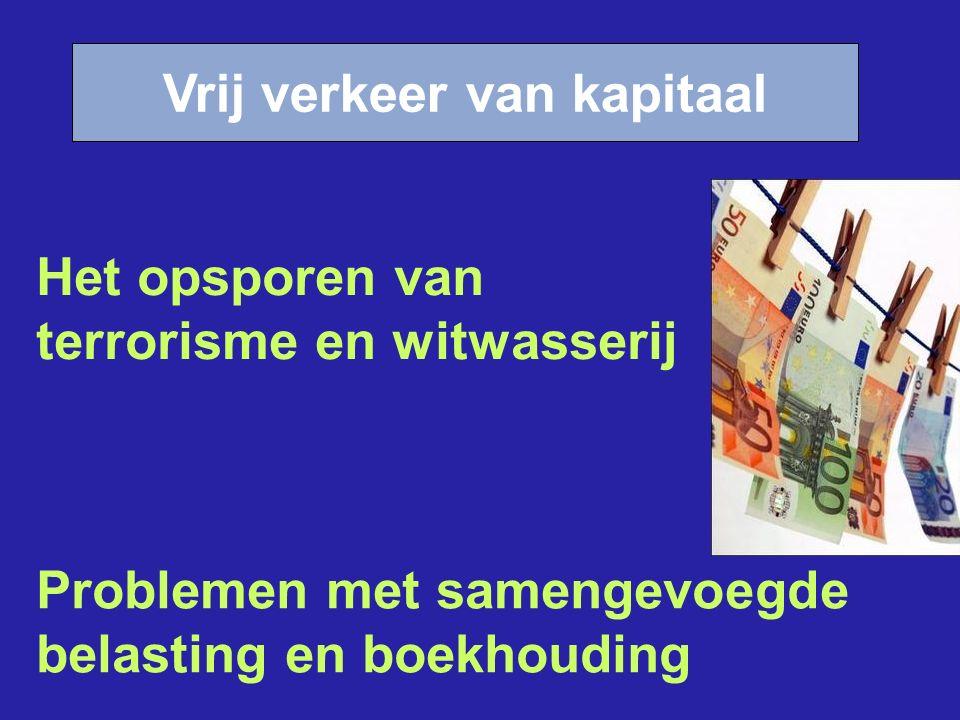 Vrij verkeer van kapitaal Problemen met samengevoegde belasting en boekhouding Het opsporen van terrorisme en witwasserij