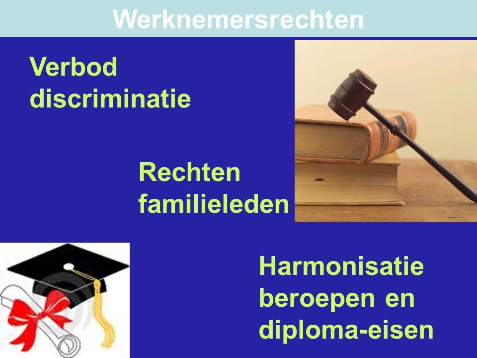 Verbod discriminatie Rechten familieleden Harmonisatie beroepen en diploma-eisen Werknemersrechten