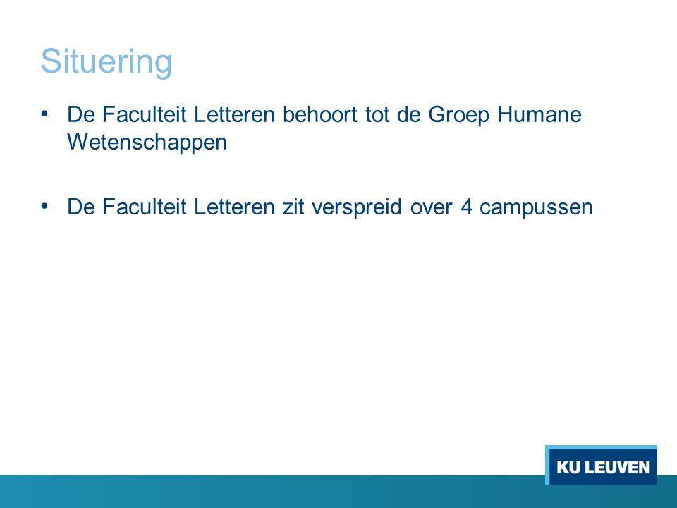 Situering De Faculteit Letteren behoort tot de Groep Humane Wetenschappen De Faculteit Letteren zit verspreid over 4 campussen