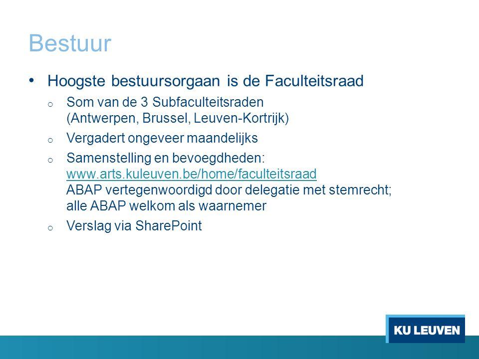 Bestuur Hoogste bestuursorgaan is de Faculteitsraad o Som van de 3 Subfaculteitsraden (Antwerpen, Brussel, Leuven-Kortrijk) o Vergadert ongeveer maand