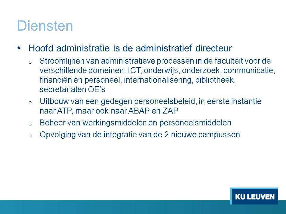 Diensten Hoofd administratie is de administratief directeur o Stroomlijnen van administratieve processen in de faculteit voor de verschillende domeine