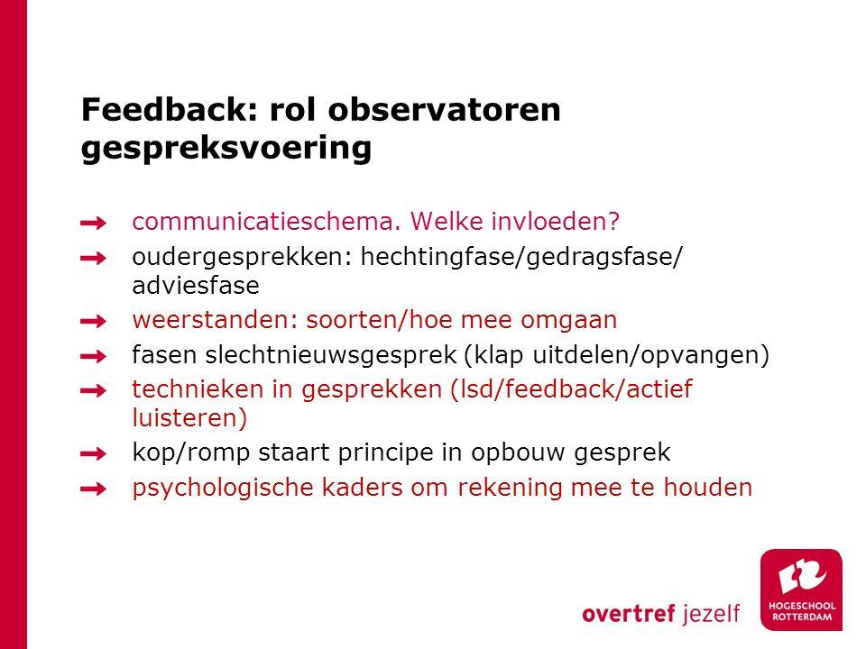Feedback: rol observatoren gespreksvoering communicatieschema. Welke invloeden? oudergesprekken: hechtingfase/gedragsfase/ adviesfase weerstanden: soo
