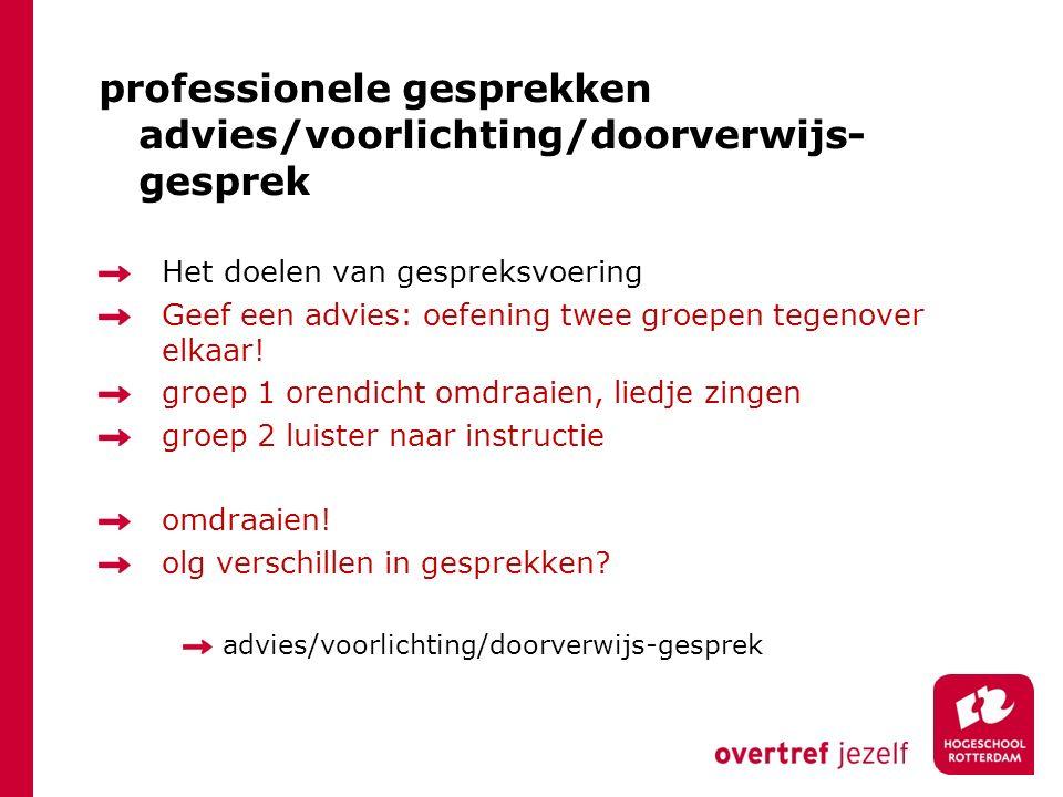 professionele gesprekken advies/voorlichting/doorverwijs- gesprek Het doelen van gespreksvoering Geef een advies: oefening twee groepen tegenover elkaar.