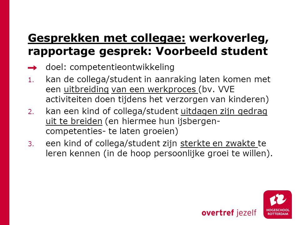 Gesprekken met collegae: werkoverleg, rapportage gesprek: Voorbeeld student doel: competentieontwikkeling 1.