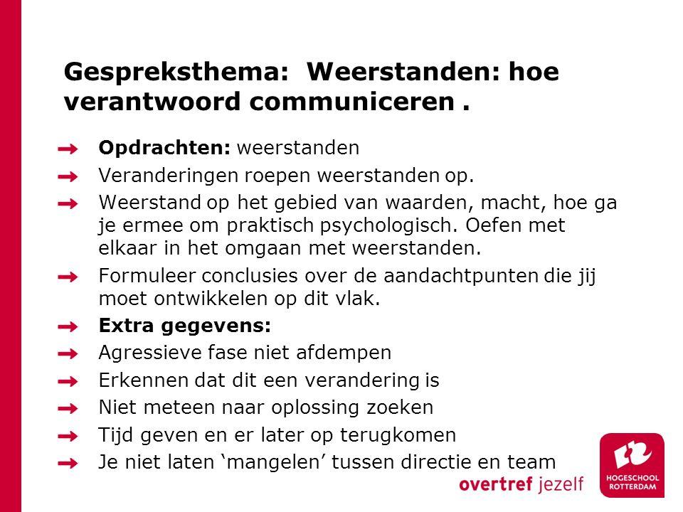 Gespreksthema: Weerstanden: hoe verantwoord communiceren.