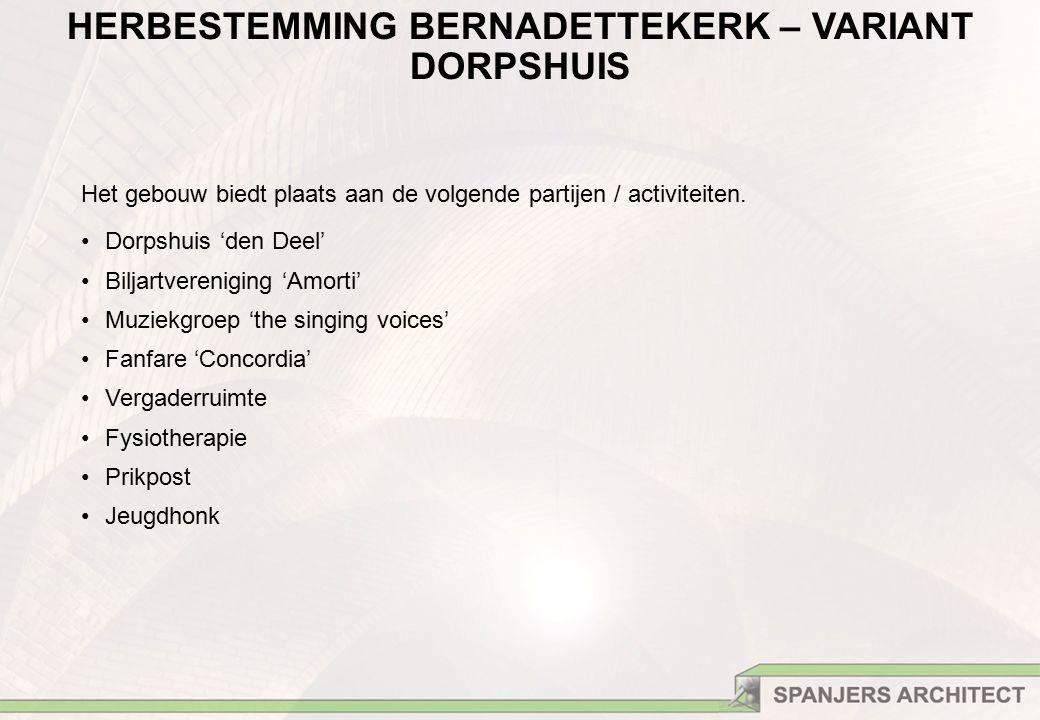HERBESTEMMING BERNADETTEKERK – VARIANT DORPSHUIS Het gebouw biedt plaats aan de volgende partijen / activiteiten.