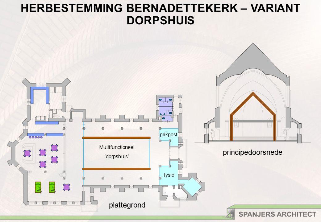 prikpost fysio plattegrond principedoorsnede Multifunctioneel 'dorpshuis' HERBESTEMMING BERNADETTEKERK – VARIANT DORPSHUIS