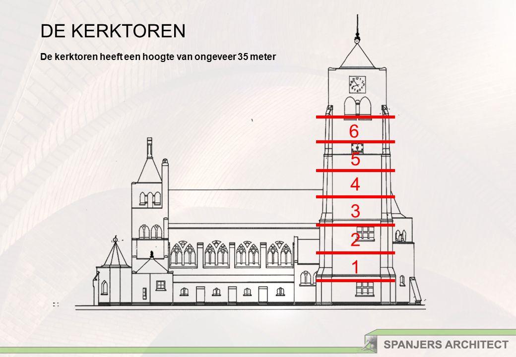 DE KERKTOREN De kerktoren heeft een hoogte van ongeveer 35 meter 1 2 3 4 5 6