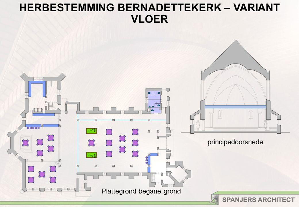 Plattegrond begane grond principedoorsnede HERBESTEMMING BERNADETTEKERK – VARIANT VLOER