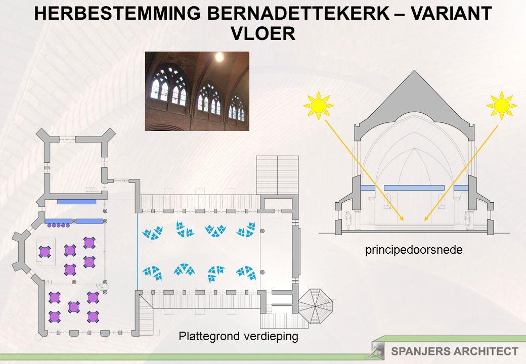 principedoorsnede HERBESTEMMING BERNADETTEKERK – VARIANT VLOER Plattegrond verdieping