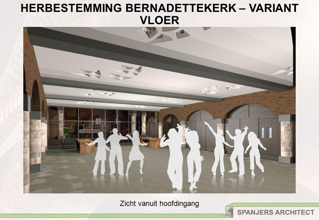 HERBESTEMMING BERNADETTEKERK – VARIANT VLOER Zicht vanuit hoofdingang