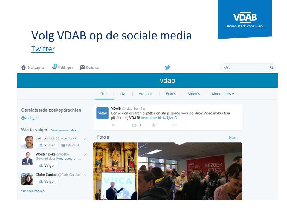 Volg VDAB op de sociale media Twitter