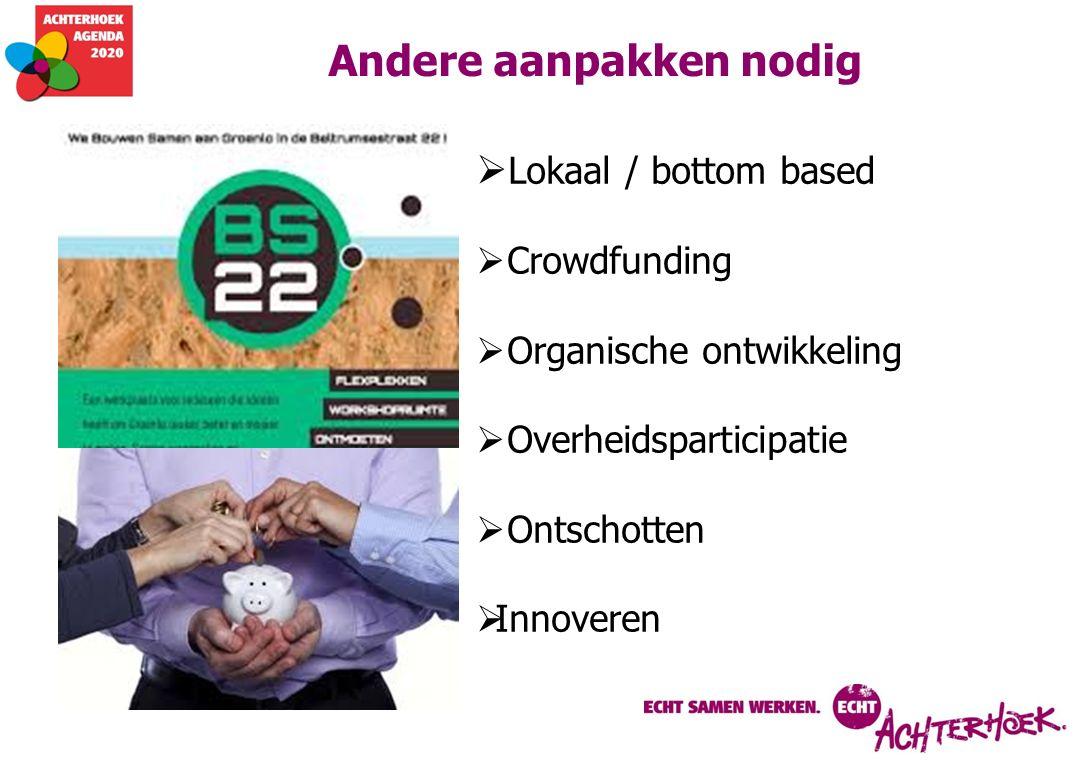 Andere aanpakken nodig  Lokaal / bottom based  Crowdfunding  Organische ontwikkeling  Overheidsparticipatie  Ontschotten  Innoveren