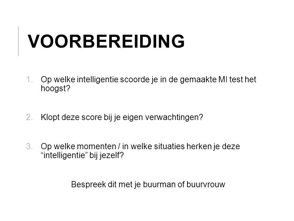 VOORBEREIDING 1.Op welke intelligentie scoorde je in de gemaakte MI test het hoogst.