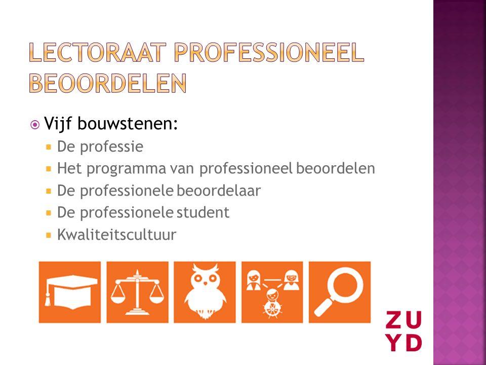  Vijf bouwstenen:  De professie  Het programma van professioneel beoordelen  De professionele beoordelaar  De professionele student  Kwaliteitsc