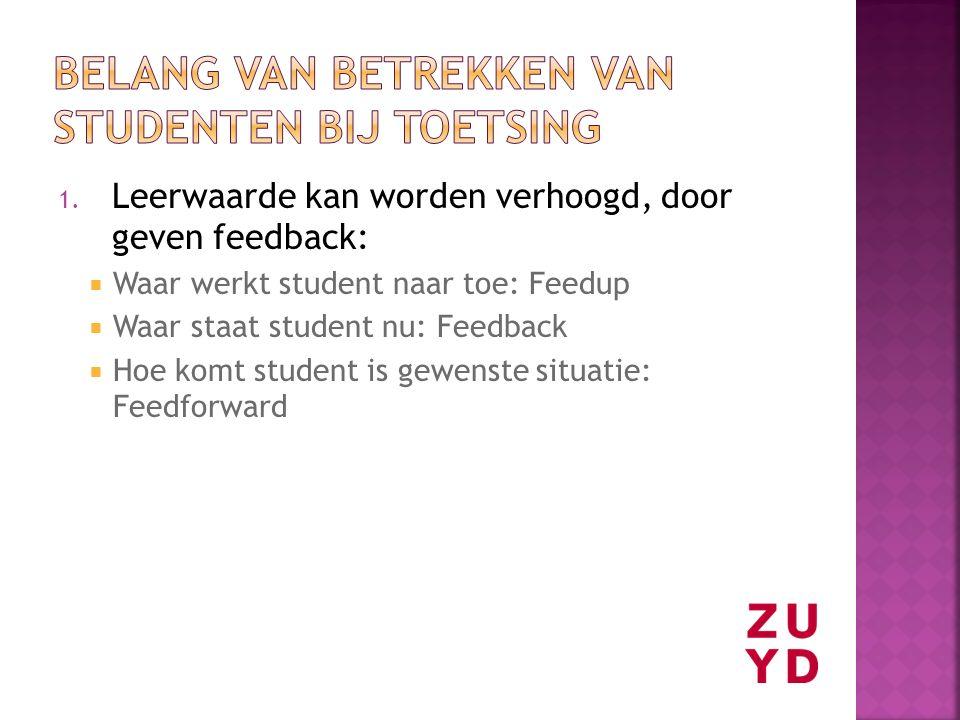 1. Leerwaarde kan worden verhoogd, door geven feedback:  Waar werkt student naar toe: Feedup  Waar staat student nu: Feedback  Hoe komt student is