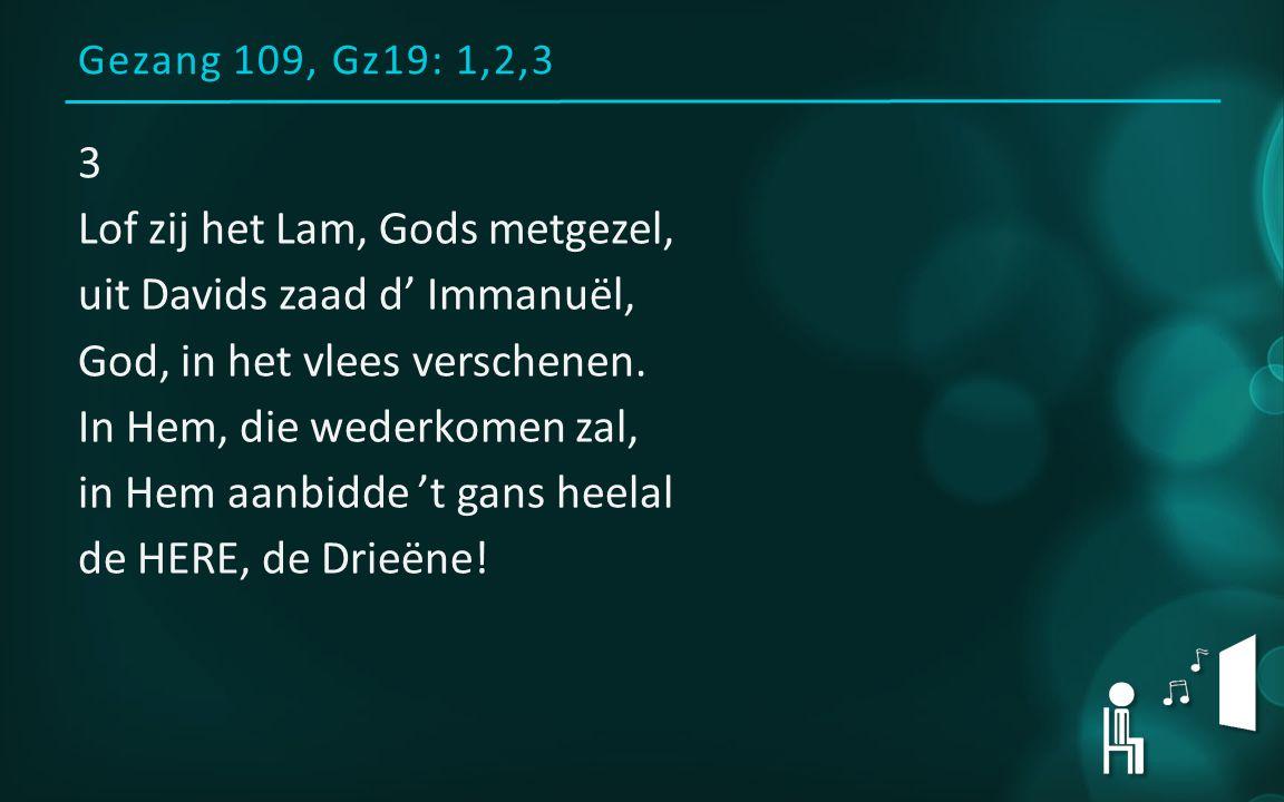 Gezang 109, Gz19: 1,2,3 3 Lof zij het Lam, Gods metgezel, uit Davids zaad d' Immanuël, God, in het vlees verschenen.